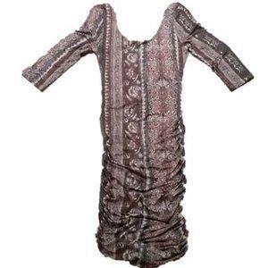 FREE PEOPLE Anthropologie 3/4 Sleeve Floral Dress